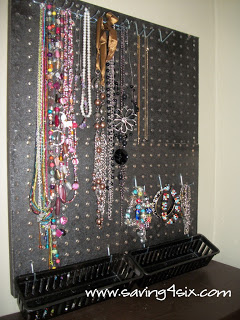 Peg Board Jewelry Organizer