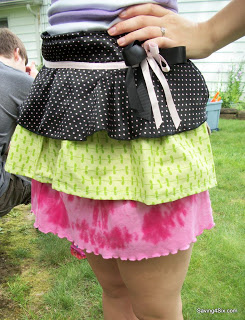 Ruffled Apron Made from Old Clothes