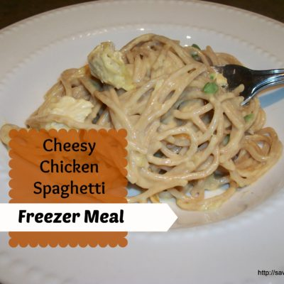 Cheesy Chicken Spaghetti Freezer Meal