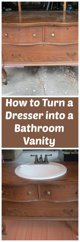 Bathroom makeover for Turning a dresser into a bathroom vanity