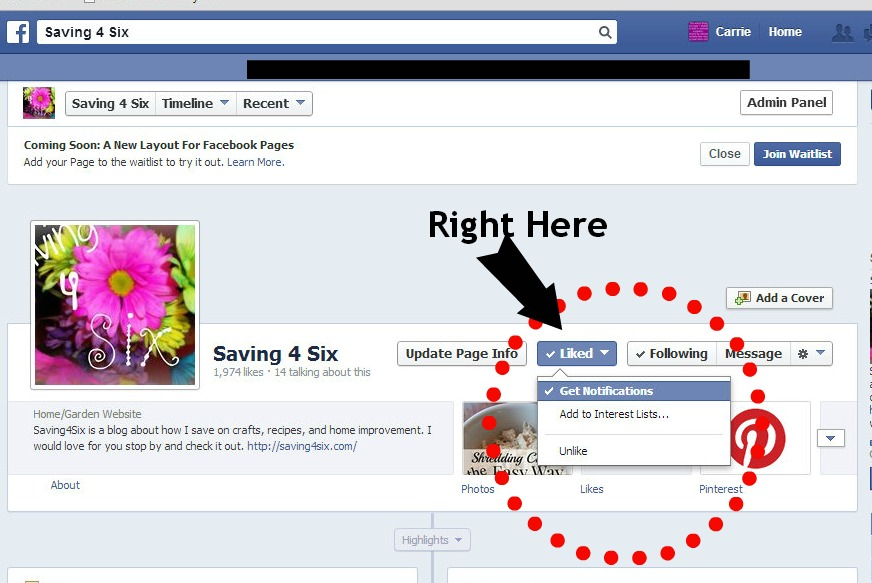 Saving 4 Six Facebook Page