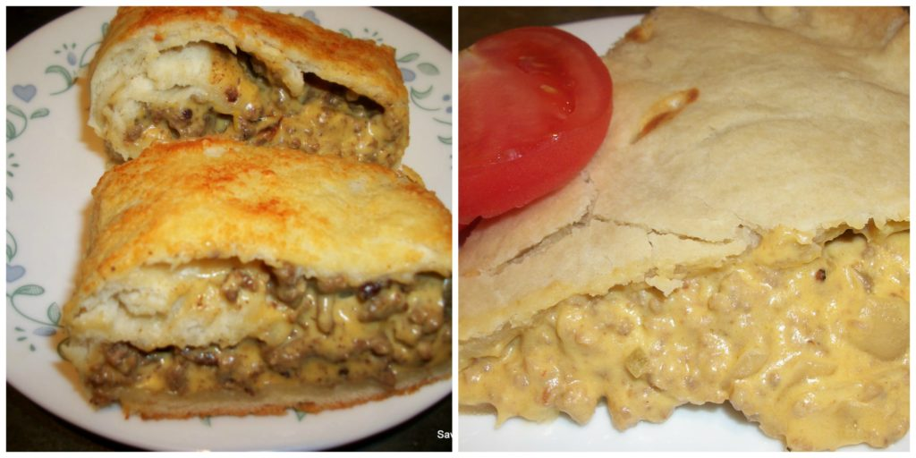 Cheeseburger Pie and Cheeseburger Stromboli http://saving4six.com/