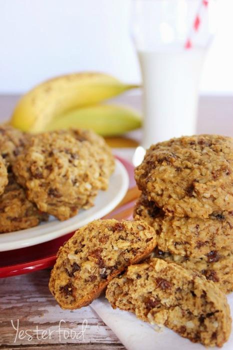 Banana Oatmeal Breakfast Cookies by Yesterfood