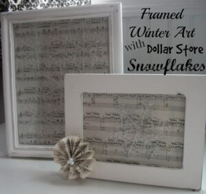 Framed Winter Art with Dollar Store Snowflakes