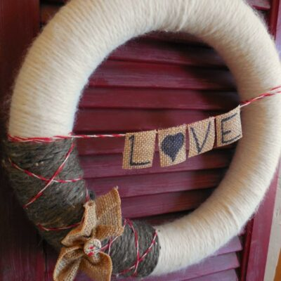Yarn Covered Wreath for Valentine's Day