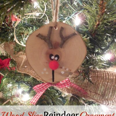 Wood Slice Reindeer Ornament