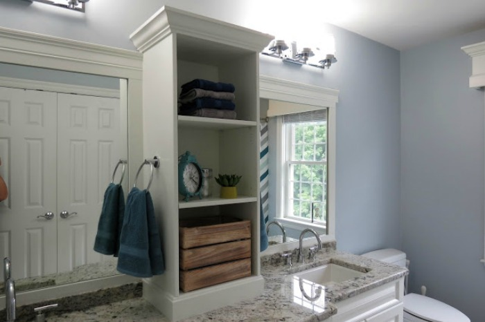 bathroom vanity, trimmed mirror, bathroom storage