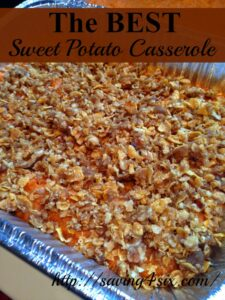Sweet Potato Casserole with Crunch Topping
