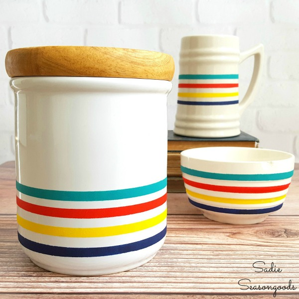 8_Hudson_Bay_point_blanket_inspired_winter_decor_using_repurposing_white_ceramic_stein_bowl_and_canister_from_thrift_store_Sadie