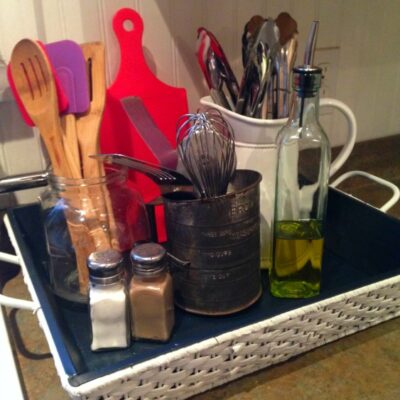 Kitchen Counter Organization with Thrift Store Basket Makeover